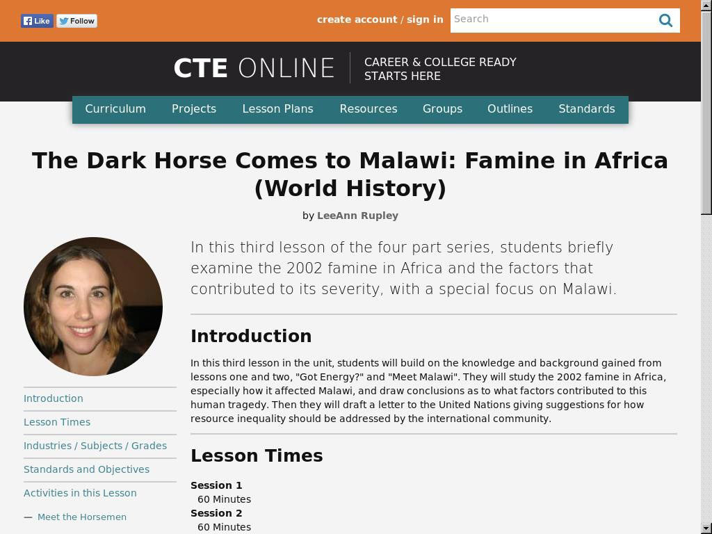 The Dark Horse Comes to Malawi: Famine in Africa