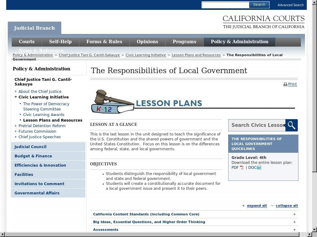 The Responsibilities of Local Government