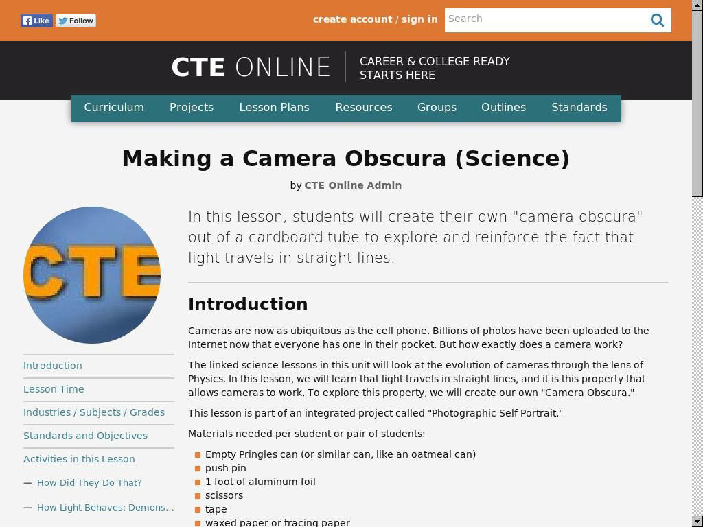 Making a Camera Obscura (Science)