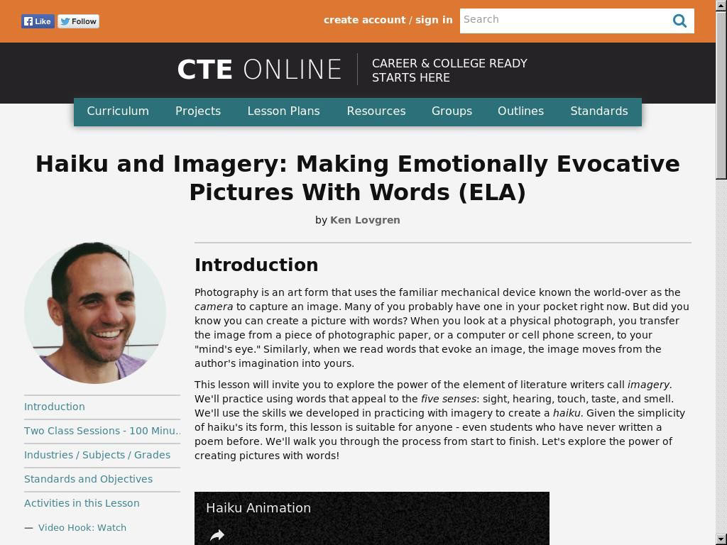Haiku and Imagery: Making Emotionally Evocative Pictures With Words (ELA)